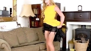 Sexy Blonde Natalia Forrest Finger Fucks Moist Cooch In Open Girdle And Nylon