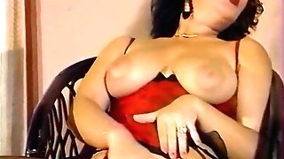 A Big Tits Lady work with her Hairy Vulva