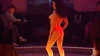 Girl-on-girl striptease strap dildo session