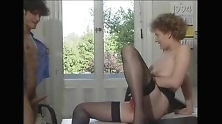 Romance with COUGAR assistant in stockings at the office